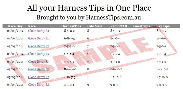 Sample Harness Racing Tips